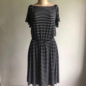 LOFT   Striped Butterfly Sleeve Dress